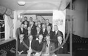 Cork Delegates to the Annual Congress of the GAA pictured with the President of the GAA Alf Murray (centre, front row) and the Secretary, Sean O'Siochain (left, second row)...Annual Congress, GAA. 18.4.65. *** Local Caption *** It is important to note that under the COPYRIGHT AND RELATED RIGHTS ACT 2000 the copyright of these photographs are the property of the photographer and they cannot be copied, scanned, reproduced or electronically stored in any form whatsoever without the written permission of the photographer