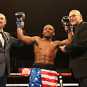 VERONA, NY - JUNE 09:  Charles Conwell smiles after he knocks out Jeffrey Wright during a ShoBox boxing match at the Turning Stone Resort Casino on June 9, 2017 in Verona, New York. (Photo by Alex Menendez/Getty Images) *** Local Caption *** Charles Conwell; Jeffrey Wright