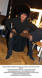 Singer GRACE JONES at a party in London on 3rd February 2004.PRI 141