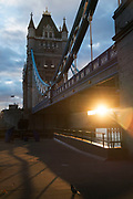 Sunset at Tower Bridge in London, England, United Kingdom.