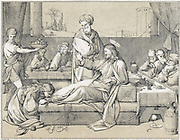Mary Magdalene annointing the feet of Jesus. Wood engraving c1880