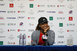 BEIJING , Oct. 02, 2018  Osaka Naomi of Japan attends a press conference after winning the women's singles second round match against Danielle Collins of the United States at China Open tennis tournament in Beijing, China, Oct. 2, 2018. (Credit Image: © Jia Haocheng/Xinhua via ZUMA Wire)