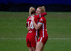 BIRKENHEAD, ENGLAND - Sunday, March 14, 2021: Liverpool's Ceri Holland celebrates with team-mate Ashley Hodson after scoring the third goal during the FA Women's Championship game between Liverpool FC Women and Coventry United Ladies FC at Prenton Park. Liverpool won 5-0. (Pic by David Rawcliffe/Propaganda)
