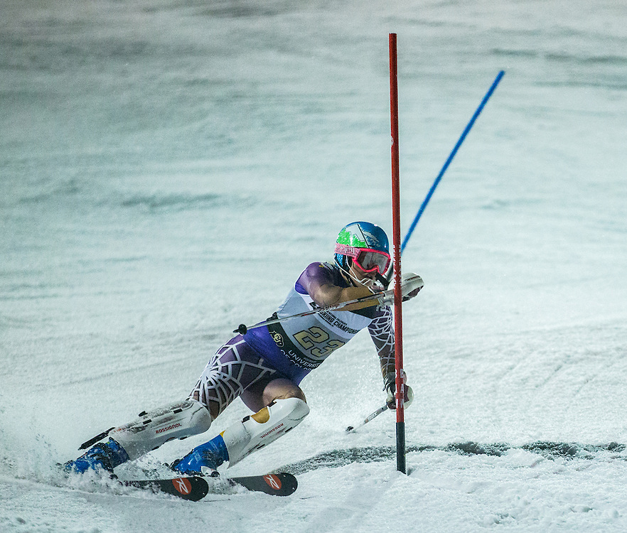 Hannah Hunsaker of Williams College, during the NCAA Skiing Championships Night Slalom on Friday March 11, 2016 at Howelsen Hill in Steamboat Springs, CO. (Dustin Satloff)