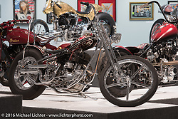 Split Image Kustoms' Dalton Walker's custom flathead in Michael Lichter's Skin & Bones tattoo inspired Motorcycles as Art show at the Buffalo Chip Gallery during the annual Sturgis Black Hills Motorcycle Rally.  SD, USA.  August 10, 2016.  Photography ©2016 Michael Lichter.