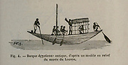 19th century Woodcut print on paper of an Ancient Egyptian Nile boat ship from L'art Naval by Leon Renard, Published in 1881