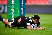 New Zealand's Isaia Walker-Leawe dives over the try line to score after charging down a kick during the World Rugby U20 Championship 5rd Place play-off  match Australia U20 -V- New Zealand U20 at The AJ Bell Stadium, Salford, Greater Manchester, England on Saturday, June  25  2016.(Steve Flynn/Image of Sport)