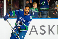 KELOWNA, BC - SEPTEMBER 29:  Darren Archibald #49 of the Vancouver Canucks warms up against the Arizona Coyotes at Prospera Place on September 29, 2018 in Kelowna, Canada. (Photo by Marissa Baecker/NHLI via Getty Images)  *** Local Caption *** Darren Archibald;