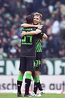 Fotball<br /> Tyskland<br /> 16.05.2015<br /> Foto: Witters/Digitalsport<br /> NORWAY ONLY<br /> <br /> Schlussjubel v.l. Granit Xhaka, Christoph Kramer (Gladbach)<br /> Fussball Bundesliga, SV Werder Bremen - Borussia Mönchengladbach