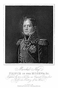 Michel Ney (1769-1815) French soldier; marshal of France; after success at Borodino and Smolensk received title Prince of the Moskwa; led French centre at Waterloo; shot for treason after capitulation of Paris. Engraving published London 1817.