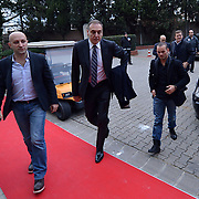 Inter Milan Ex Dutch midfielder, Turkish soccer club Galatasaray new player Wesley Sneijder, his arrival at the Florya Metin Oktay Sports Center in Istanbul Turkey on Monday 21 January 2013. Galatasaray's CEO Lutfi Aribogan(C) with Wesley Sneijder. Galatasaray, Inter Milan Dutch midfielder played with a three and a half year deal gave Wesley Sneijder. Photo by TURKPIX