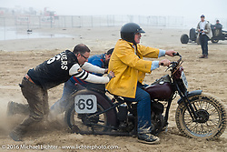 Daniel DeSourcey had a tough time, as did all the racders, getting through the soft sand that led to the pits before the start of TROG West - The Race of Gentlemen. Pismo Beach, CA, USA. Saturday October 15, 2016. Photography ©2016 Michael Lichter.