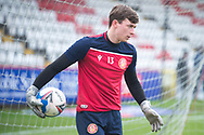 Stevenage goalkeeper Billy Johnson (13) warming up before the EFL Sky Bet League 2 match between Stevenage and Morecambe at the Lamex Stadium, Stevenage, England on 6 February 2021.