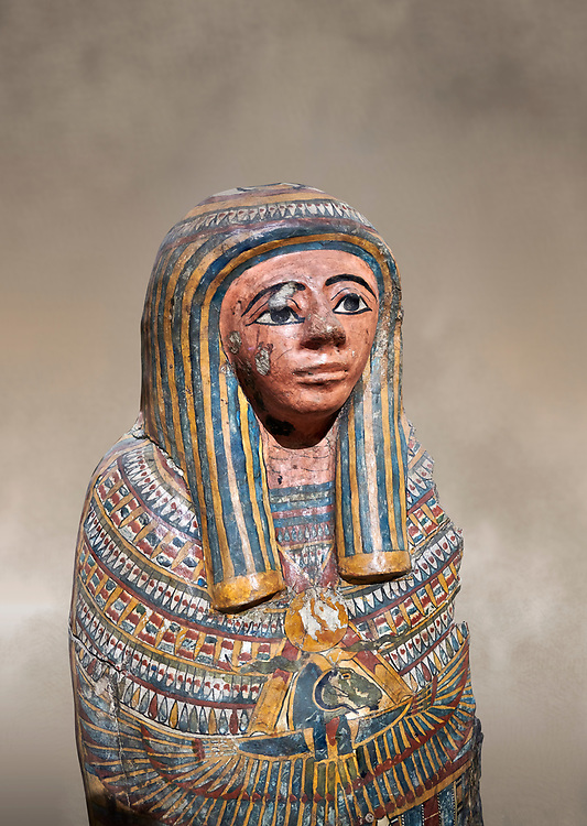 Ancient Egyptian Cartonnage funerary mask from the Third Intermediate Period, 22nd Dynasty (944-1025BC).  Egyptian Museum, Turin. <br /> <br /> Made from overlapping papyrus and cloth this cartonnage has been decorated with a weskh collar over which are depicted two crossed cloth strips that represent the last bandages of the deceased mummy wrappings. below this is depicted the rams head of god Amon-Ra against the out stretched wings of a vulture .<br /> <br /> If you prefer to buy from our ALAMY PHOTO LIBRARY  Collection visit : https://www.alamy.com/portfolio/paul-williams-funkystock/ancient-egyptian-art-artefacts.html  . Type -   Turin   - into the LOWER SEARCH WITHIN GALLERY box. Refine search by adding background colour, subject etc<br /> <br /> Visit our ANCIENT WORLD PHOTO COLLECTIONS for more photos to download or buy as wall art prints https://funkystock.photoshelter.com/gallery-collection/Ancient-World-Art-Antiquities-Historic-Sites-Pictures-Images-of/C00006u26yqSkDOM