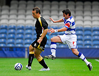 Photo: Leigh Quinnell.<br /> Queens Park Rangers v Cardiff City. Coca Cola Championship. 18/08/2007. Cardiffs Gavin Rae, is about to face a strong challenge from QPRs Adam Bolder.