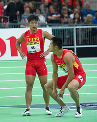 Su Bingtian(L) and Xie Zhenye of China react after the men's 60 metres final during day two of the IAAF World Indoor Championships at Oregon Convention Center in Portland, Oregon, the United States, on March 18, 2016. EXPA Pictures © 2016, PhotoCredit: EXPA/ Photoshot/ Yang Lei from Chongqing<br /> <br /> *****ATTENTION - for AUT, SLO, CRO, SRB, BIH, MAZ, SUI only*****