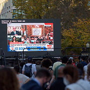 Crowds watch the election coverage in McPherson Square. People from Baltimore-Washington Area gather around the White House to celebrate the announcement of Joe Biden's election as the Next President of the United States.