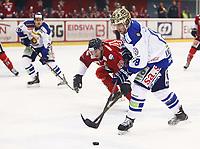 Ishockey , Get-Ligaen<br /> 13.11.14<br /> Kristins Hall<br /> Lillehammer  v  Sparta  2-1<br /> Foto : Dagfinn Limoseth , Digitalsport<br /> Aleksander Nygaard Rindal  , Lillehammer og  Dion Knelsen  , Sparta