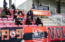 FC Fredericia fans under kampen i 1. Division mellem FC Fredericia og FC Helsingør den 4. oktober 2020 på Monjasa Park i Fredericia (Foto: Claus Birch).