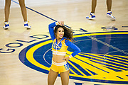 A Golden State Warriors cheerleader performs during Game 4 of the Western Conference Finals against the Houston Rockets at Oracle Arena in Oakland, Calif., on May 22, 2018. (Stan Olszewski/Special to S.F. Examiner)