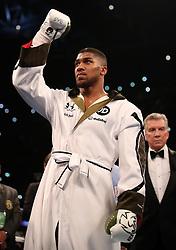 Anthony Joshua before the IBF World Heavyweight Title, IBO World Heavyweight Title and WBA Super World Heavyweight Title bout at the Principality Stadium, Cardiff.