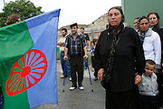 Roma demonstration near Paris. Vilhem Covaci's family, supported by his local Roma community march through the streets of Aubervilliers. They question the suspiciousdeath of this young Roma man 'Vilhem Covaci' who drowned in the canal, fleeing police in the northern suburb ofAubervilliers on the outskirts of Paris 2006, France<br /><br />Roma East European migrants demonstrate and march through the streets of Paris and Paris Banlieu. Sick of persecution, racism and suffering, they wish to be able to live in a proper home, send their children to school,  the right to work.To be recognised as european citizens with equal opportunities for work, education and a healthy lifestyle.