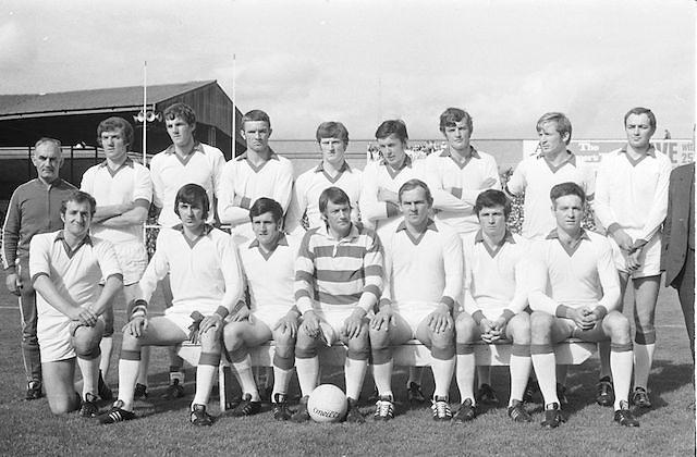 The Cork team before the start of the All Ireland Senior Gaelic Football Championship Final Cork v Galway in Croke Park on the 23rd September 1973. Cork 3-17 Galway 2-13. <br /> W Morgan (capt), F Cogan, H Kelleher, B Murphy, K J O'Sullivan, J Coleman, C Hartnett, D Long, D Coughlan, E Kirby, D Barron, D McCarthy, J Barry Murphy, R Cummins, J Barrett, Subs, S Coughlan for J Coleman, D Hunt for McCarthy, M Scannell, D Kelleher.