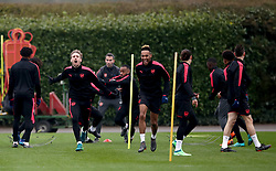 Arsenal's Nacho Monreal (left) and Pierre-Emerick Aubameyang (centre) during the training session at London Colney, Hertfordshire.