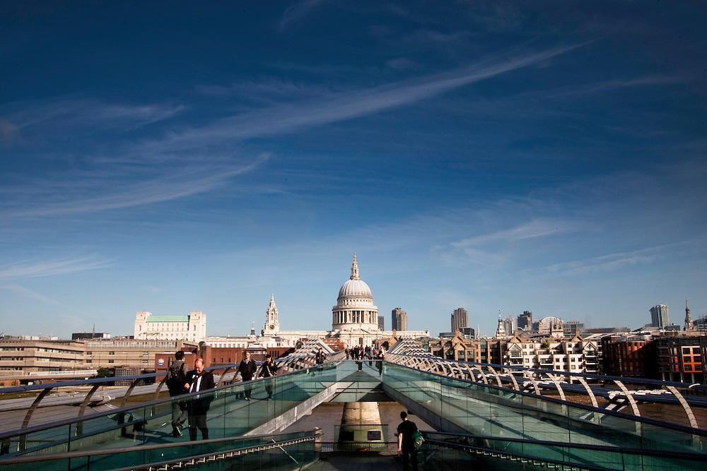 St Paul's Cathedral and the Millennium Bridge, London EC4