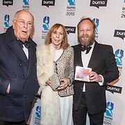 NLD/Hilversum/20150217 - Inloop Buma Awards 2015, Willem van Kooten en partner Henny Mieke