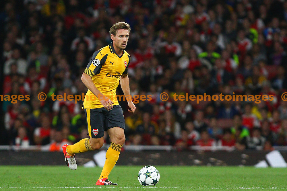 Nacho Monreal of Arsenal during the UEFA Champions League Group A match between Arsenal and FC Basel at the Emirates Stadium in London. September 28, 2016.<br /> Arron Gent / Telephoto Images<br /> +44 7967 642437