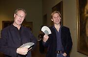 Jeffrey Kroll and Adam Prideaux. Gainsborough opening, Tate. 22 October 2002. © Copyright Photograph by Dafydd Jones 66 Stockwell Park Rd. London SW9 0DA Tel 020 7733 0108 www.dafjones.com