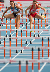 Irina Lenskiy of Israel and Jelena Jotanovic of Serbia compete during the first round of the women's 100m hurdles at the 2010 European Athletics Championships at the Olympic Stadium in Barcelona on July 30, 2010. (Photo by Vid Ponikvar / Sportida)