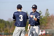 CARY, NC - FEBRUARY 23: Monmouth's Shaine Hughes (37) and JP Walsh (3). The Monmouth University Hawks played the Saint John's University Red Storm on February 23, 2018 on Field 2 at the USA Baseball National Training Complex in Cary, NC in a Division I College Baseball game. St John's won the game 3-0.
