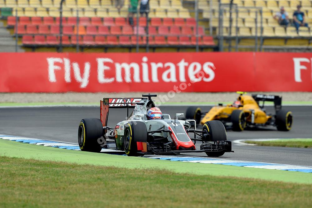 Romain Grosjean (Haas-Ferrari) leading Esteban Ocon (Renault) during practice before the 2016 German Grand Prix in Hockenheim. Photo: Grand Prix Photo