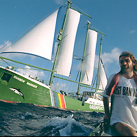 Greenpeace flagship RAINBOW WARRIOR at full sail in international waters following its release from Hao. Accession #: 2.96.057.009.32