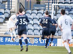 Raith Rovers John Baird scoring their first goal.<br /> Half time : Raith Rovers 2 v 1 Falkirk, Scottish Championship game today at Starks Park.<br /> © Michael Schofield.