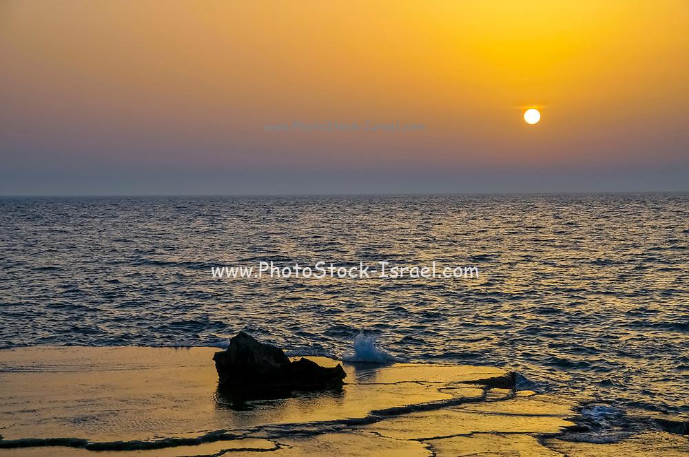 Sunset over the Mediterranean Sea at Achziv Beach, Northern Israel
