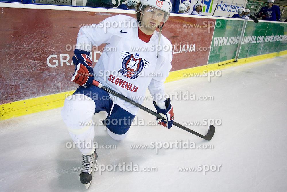 Andrej Hebar at first practice of Slovenian National Ice hockey team before World championship of Division I - group B in Ljubljana, on April 5, 2010, in Hala Tivoli, Ljubljana, Slovenia.  (Photo by Vid Ponikvar / Sportida)