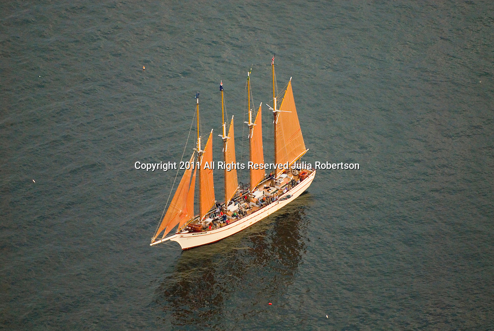 Aerial view of Schooner outside of Bar Harbor Maine