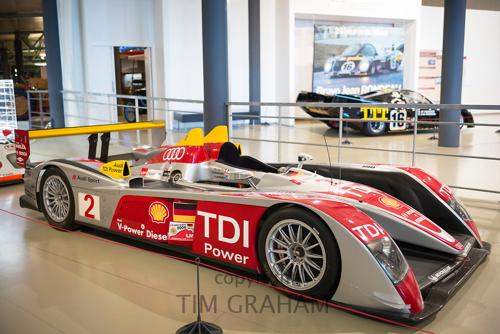 Audi R10 TDI diesel race car 2008 at the exhibition musee at Le Mans Racetrack, France