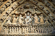 Tympanum of central west portal: Christ in Majesty presides over the Last Day of Judgement, supported by an array of saints.  Gothic Cathedral of Notre-Dame, Amiens, France . The Cathedral Basilica of Our Lady of Amiens or simply Amiens Cathedral, is a Roman Catholic  cathedral the seat of the Bishop of Amiens. It is situated on a slight ridge overlooking the River Somme in Amiens. Amiens Cathedral, was built almost entirely between 1220 and c.1270, a remarkably short period of time for a Gothic cathedral, giving it an unusual unity of style. Amiens is a classic example of the High Gothic style of Gothic architecture. It also has some features of the later Rayonnant style in the enlarged high windows of the choir, added in the mid-1250s. Amiens Cathedra has been listed as a UNESCO World Heritage Site since 1981. Photos can be downloaded as Royalty Free photos or bought as photo art prints. <br /> <br /> Visit our MEDIEVAL PHOTO COLLECTIONS for more   photos  to download or buy as prints https://funkystock.photoshelter.com/gallery-collection/Medieval-Middle-Ages-Historic-Places-Arcaeological-Sites-Pictures-Images-of/C0000B5ZA54_WD0s