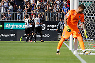 Baptiste GUILLAUME (SCO Angers) scored a goal against Benoit Costil (Girondins de Bordeaux) and celebrated it with Karl TOKO-EKAMBI (SCO Angers), Angelo FULGINI (SCO Angers), Flavien TAIT (SCO Angers), Pierrick CAPELLE (SCO Angers) during the French championship L1 football match between SCO Angers and Bordeaux on August 6th, 2017 at Raymond-Kopa stadium, France - PHOTO Stéphane Allaman / ProSportsImages / DPPI