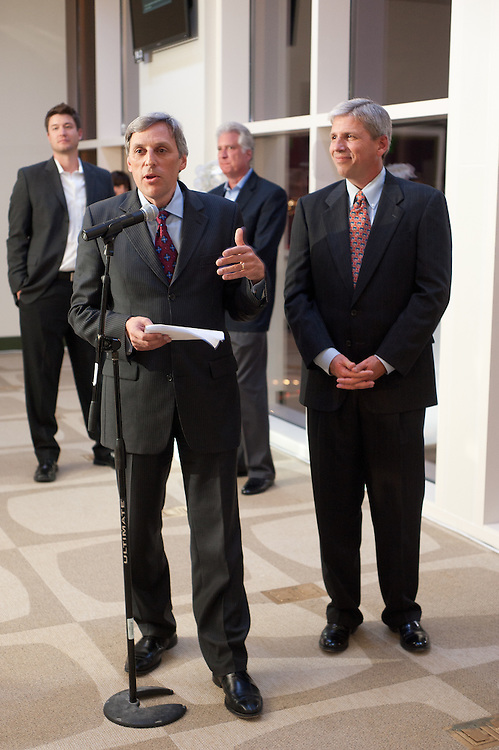 The Four Seasons Residences Austin hosted a party Friday night for current, future and prospective residents. Tom Segesta, General Manager of Four Seasons Austin speaks to the invitees. On the right is David Ward, Executive Vice President, Post Properties.