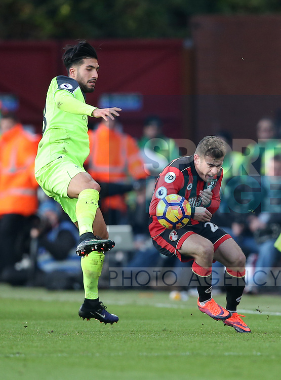 Bournemouth's Ryan Fraser tussles with Liverpool's Emre Can during the Premier League match at the Vitality Stadium, London. Picture date December 4th, 2016 Pic David Klein/Sportimage