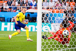 June 27, 2018 - Ekaterinburg, Russia - LUDWIG AUGUSTINSSON of Sweden scores the 0-1 goal  during the FIFA World Cup group stage match between Mexico and Sweden in Ekaterinburg. (Credit Image: © Petter Arvidson/Bildbyran via ZUMA Press)