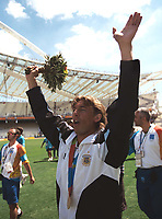 Gabriel Heinze (Argentina) who has recently signed for Manchester United celebrates with his gold Medal.Mens Football Final. Argentina v Paraguay.28/8/2004.Athens Olympics 2004.Credit : Colorsport/Andew Cowie