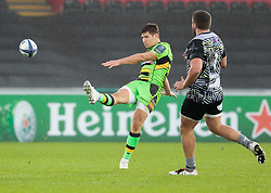 Northampton Saints' Piers Francis gets the ball away<br /> <br /> Photographer Simon King/Replay Images<br /> <br /> EPCR Champions Cup Round 4 - Ospreys v Northampton Saints - Sunday 17th December 2017 - Parc y Scarlets - Llanelli<br /> <br /> World Copyright © 2017 Replay Images. All rights reserved. info@replayimages.co.uk - www.replayimages.co.uk