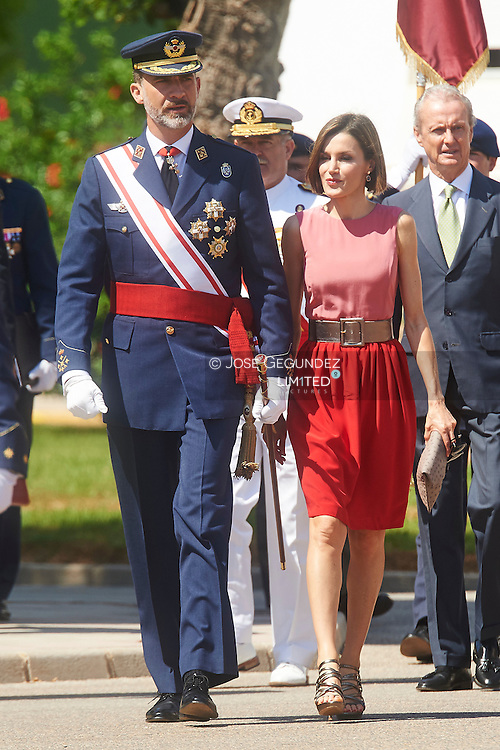 King Felipe VI of Spain and Queen Letizia of Spain visit the Air Force General Academy to attend the graduation ceremony on July 14, 2015 in San Javier, Murcia, Spain