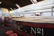Washback for fermentation with yeast as part of Whisky process in the Tun Room in Visitor Centre at Tobermory Distillery, Isle of Mull, the Western Isles of Scotland